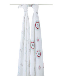 A+A CLASSIC MUSLIN SWADDLE 2 PACK LIAM THE BRAVE FLYING DOG MEDALLION