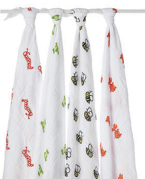 A+A CLASSIC MUSLIN SWADDLE 4 PACK MOD ABOUT BABY