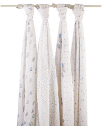 A+A CLASSIC MUSLIN SWADDLE 4 PACK NIGHT SKY