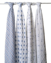 A+A CLASSIC MUSLIN SWADDLE 4 PACK PRINCE CHARMING