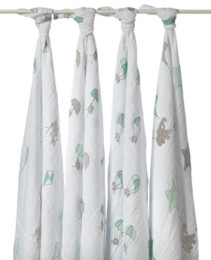 A+A CLASSIC MUSLIN SWADDLE 4 PACK UP UP AND AWAY