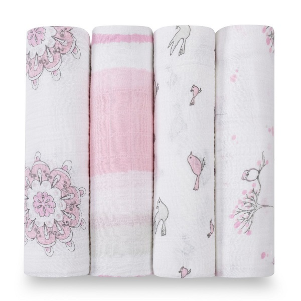 Aden + Anais Classic Muslin Swaddle 4 Pack- For The Birds