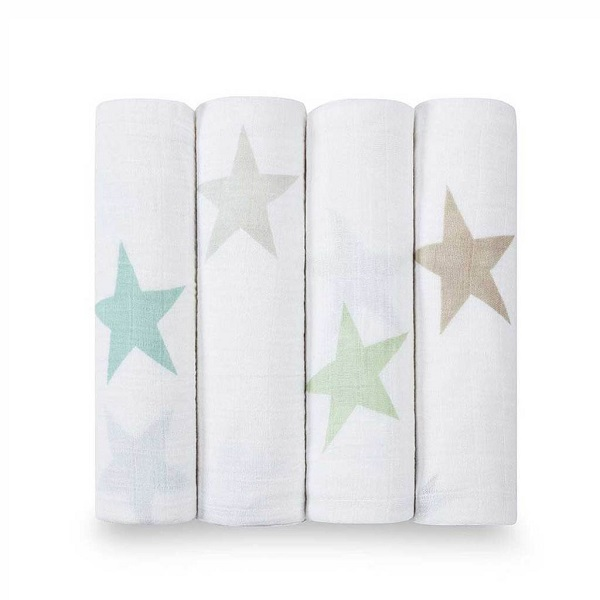 Aden + Anais Classic Muslin Swaddle 4 Pack- Super Star Scout