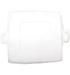 VIETRI LASTRA HANDLED SQUARE PLATTER WHITE