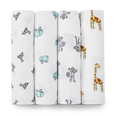 Aden + Anais Classic Muslin Swaddle 4 Pack- Jungle Jam