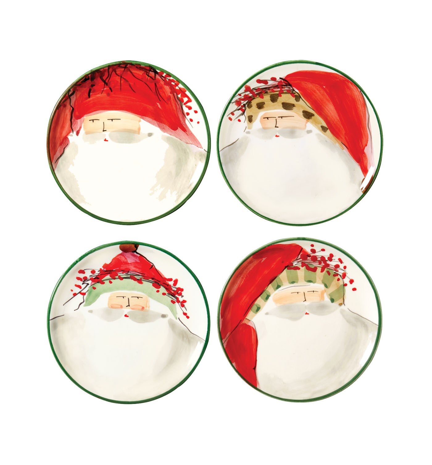 Vietri Old St. Nick Assorted Canape Plate - Set of 4 - Tulips