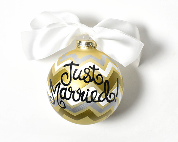Coton Colors Just Married Glass Ornament