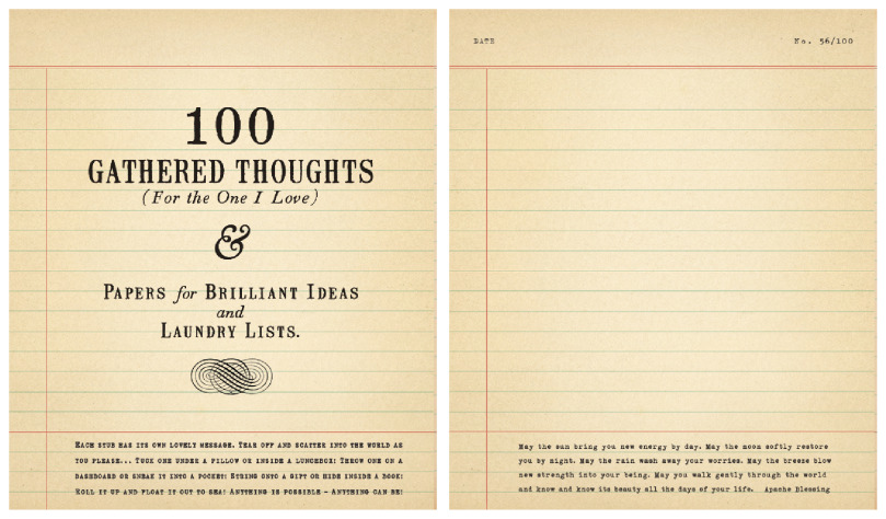 sugarboo 100 gathered thoughts large notepad for the one i love inside - Sugarboo