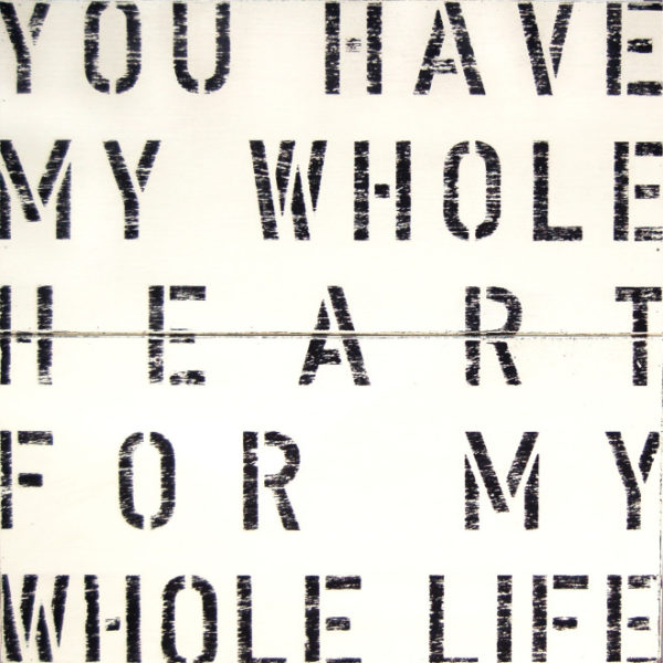Sugarboo Cream Antique Sign- My Whole Heart