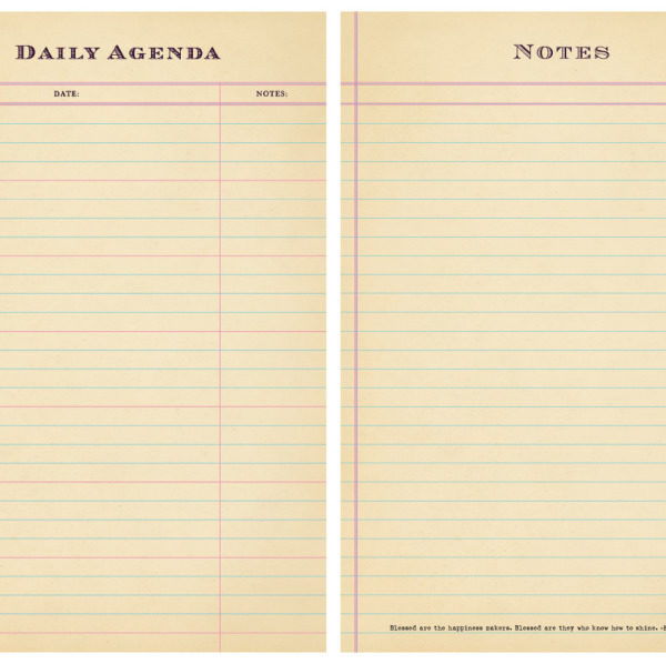 SUGARBOO DAILY AGENDA NOTES