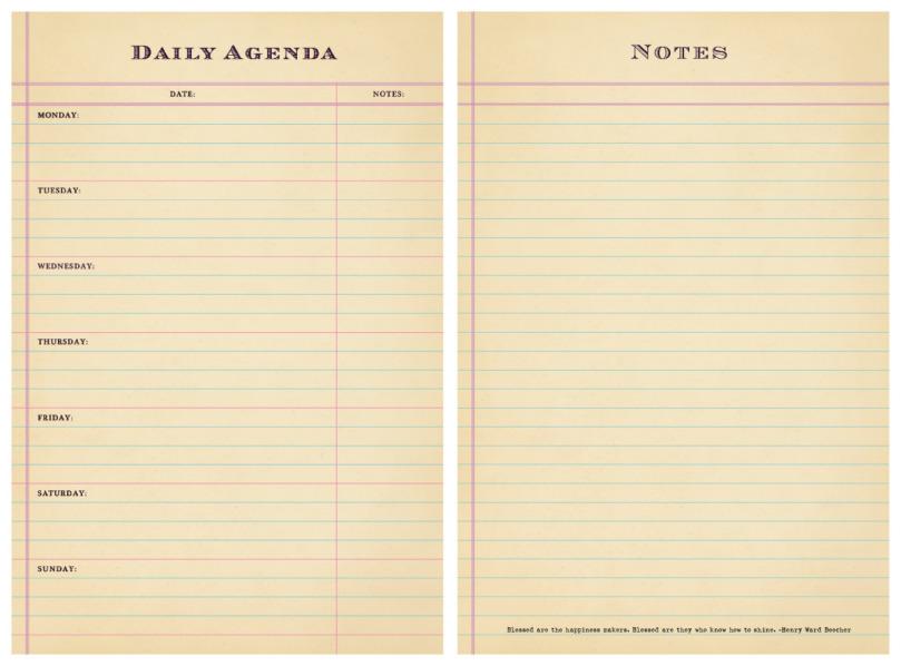 Daily Agenda – Printable Editable Blank Calendar 2017