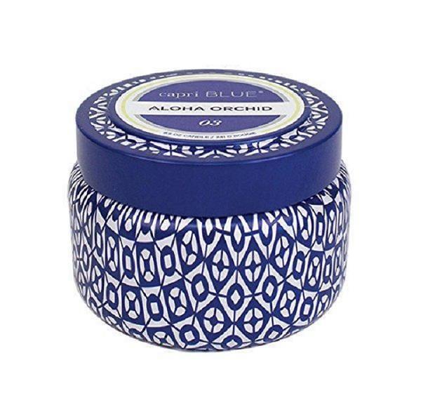Capri Blue Printed Tin Candle- Aloha Orchid