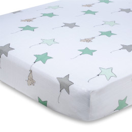 A+A CLASSIC CRIB SHEET UP UP AND AWAY ELEPHANT