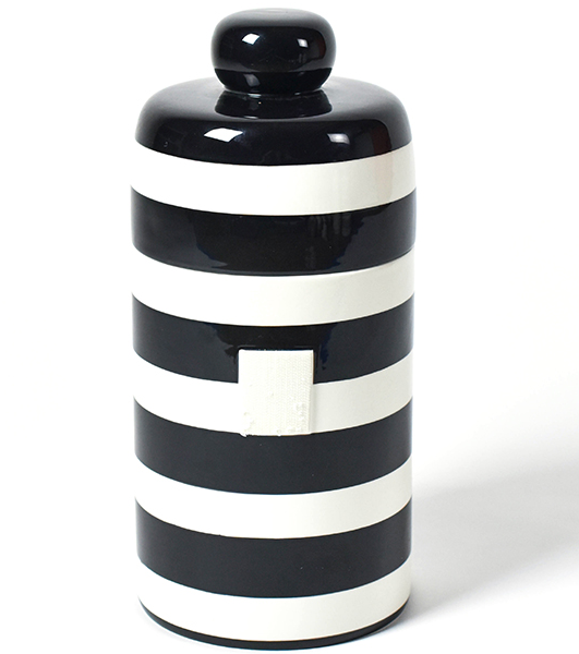 Happy Everything Black Stripe Mini Canister