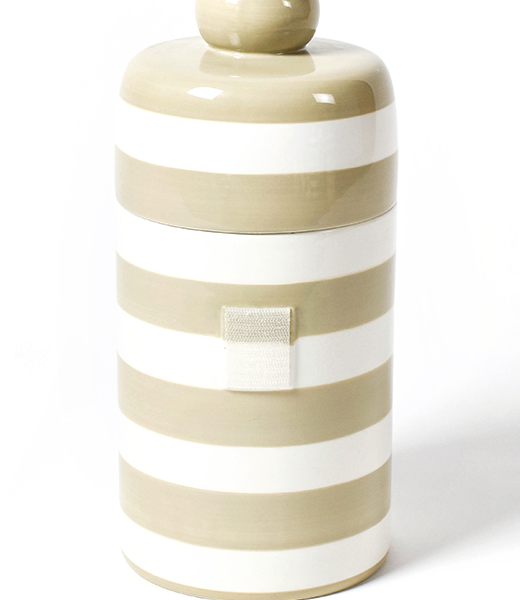 Happy Everything Neutral Stripe Mini Canister