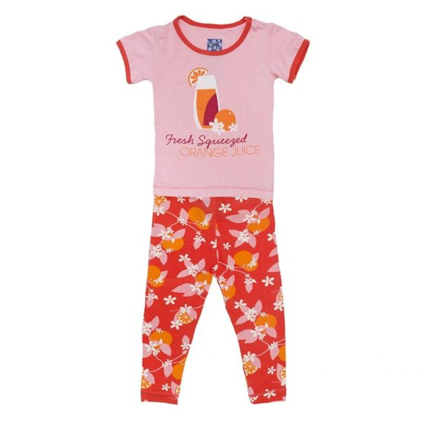 Kickee Pants Poppy Orange Pajama Set