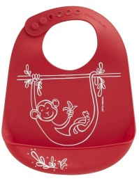 Bib  Monkey Business Red