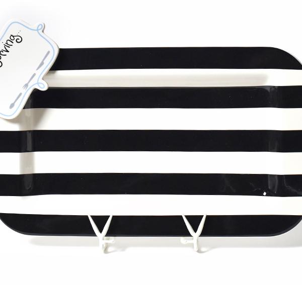 Happy Everything Black And White Stripe Mini Entertaining Platter