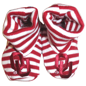 OU Striped Baby Booties