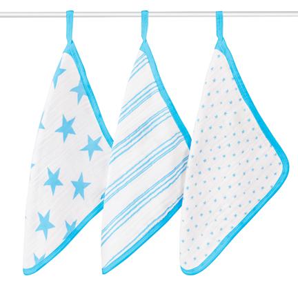 Aden + Anais Fluro Blue Washcloth Set