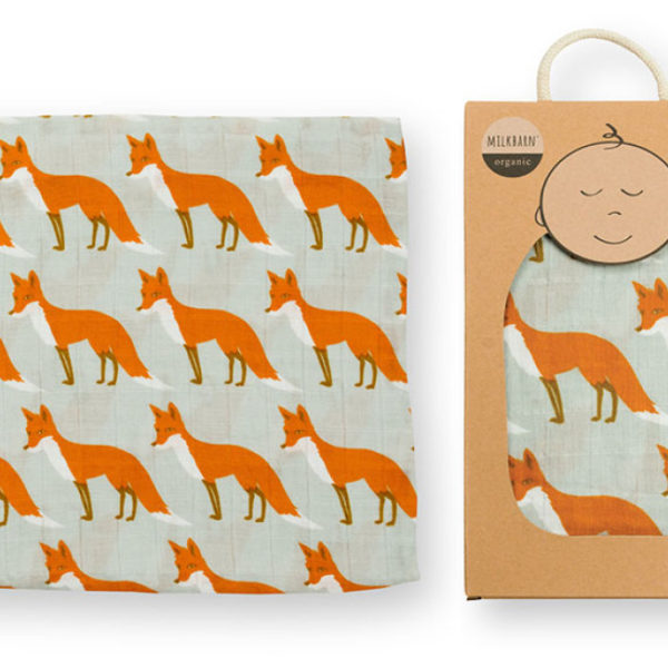 Milkbarn Orange Fox Muslin Swaddle Blanket