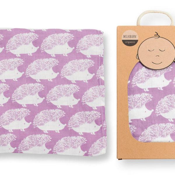 Lavender Hedgehog Muslin Swaddle Blanket