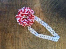 red and white flower lace headband