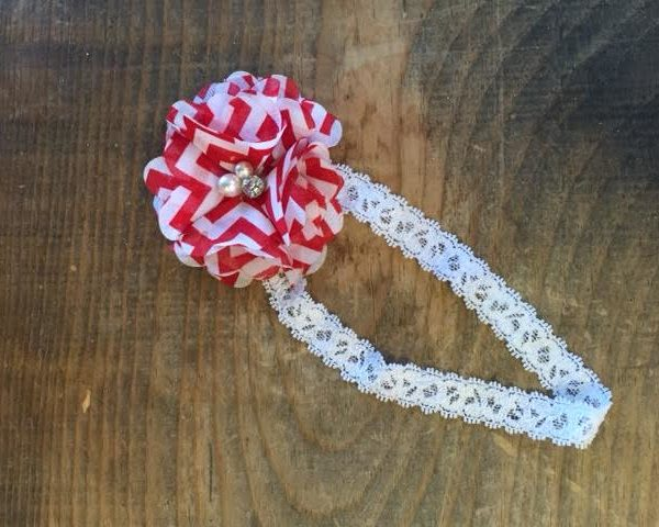 Red And White Chevron Flower Lace Headband