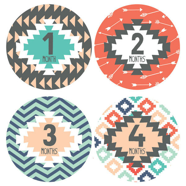 Lucy Darling Tribal Design Monthly Stickers