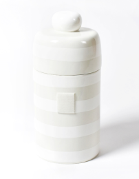 white stripe canister