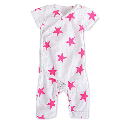Aden + Anais Shocking Pink Star Short Sleeve Kimono One-Piece