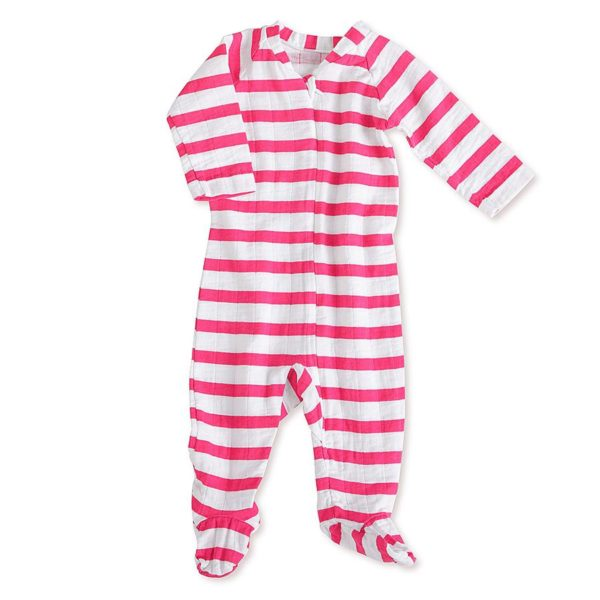 Aden + Anais Pink Stripe Zipper One Piece