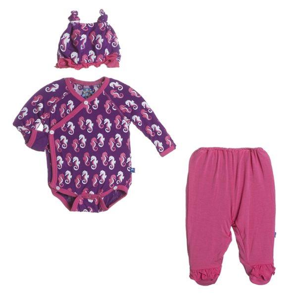 Kickee Pants Starfish Seahorse Kimono Set