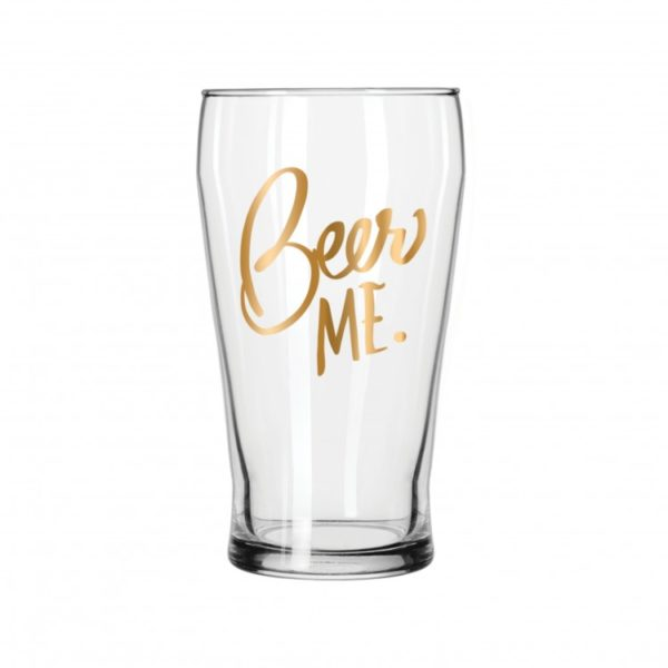 Beer Me Gold Pub Glass