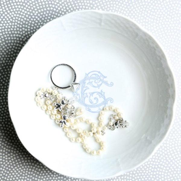 Sasha Nicholas Couture Monogrammed Fruit Bowl Light Blue