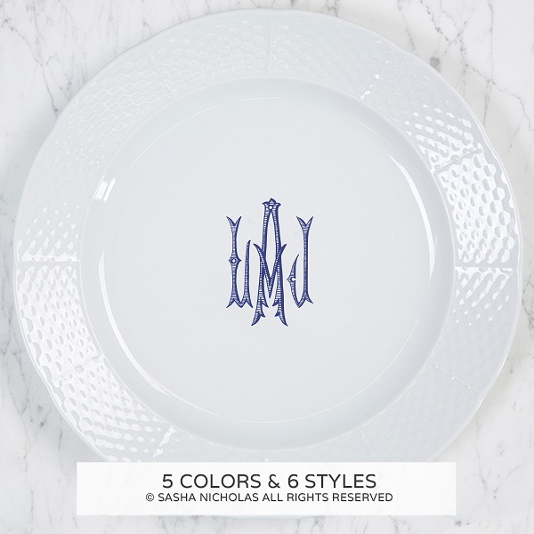 Sasha Nicholas Weave Charger/Dinner Plate With Monogram