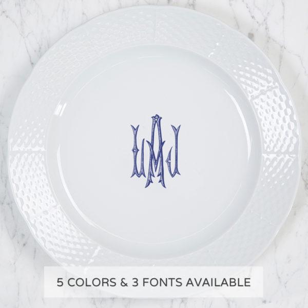 Sasha Nicholas Weave Charger/Dinner Plate With Monogram