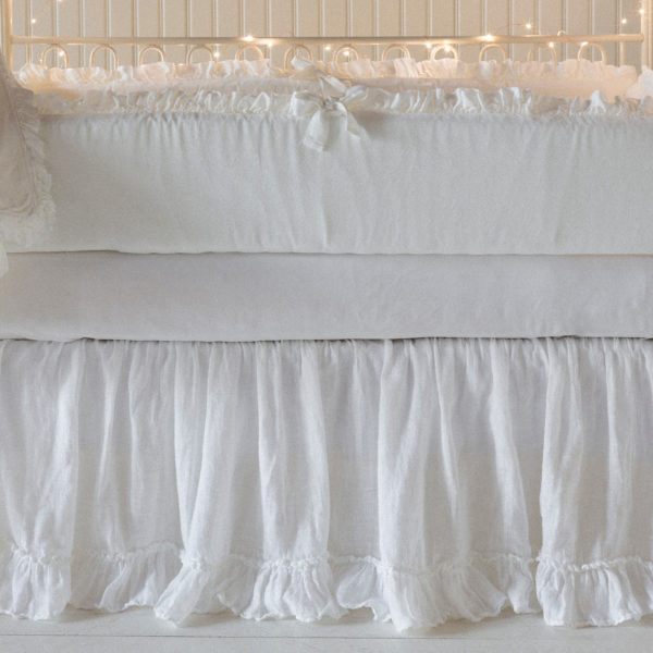 Bella Notte Crib Skirt Linen Whisper