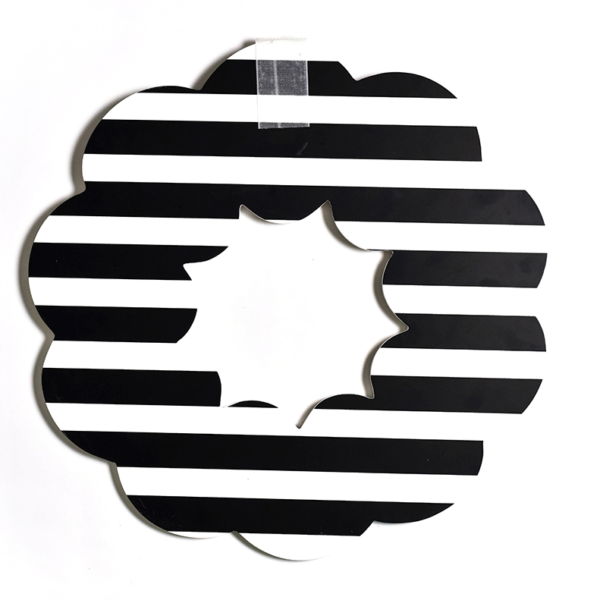 Happy Everything Black Stripe Wooden Wreath