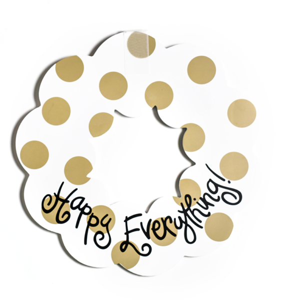 Happy Everything Neutral Dot Wooden Wreath