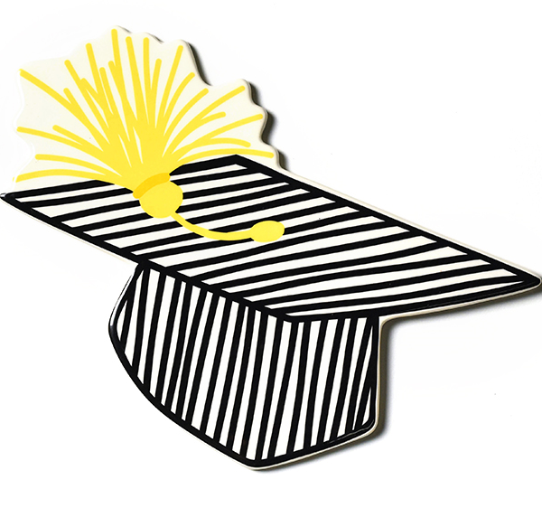 Happy Everything Striped Graduation Cap Big Attachment