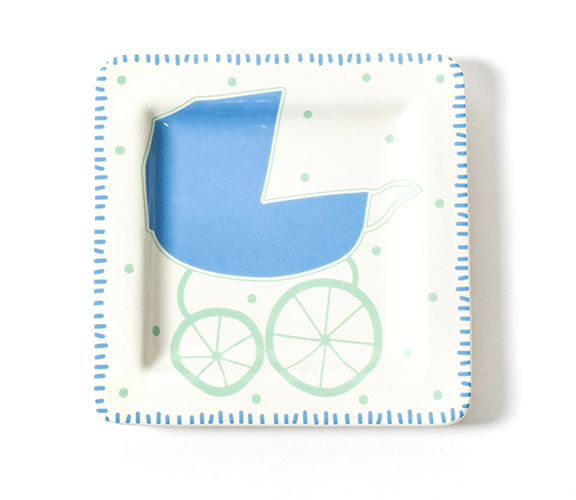 Coton Colors Baby Carriage Square Plate- Boy