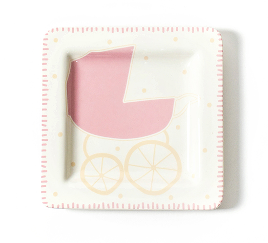 Coton Colors Baby Carriage Square Plate- Girl