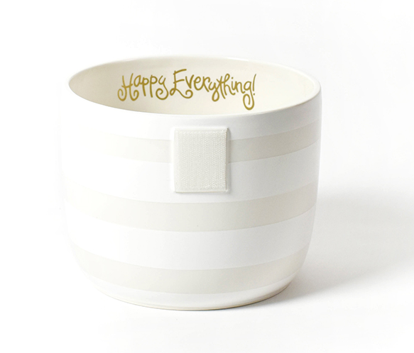 Happy Everything White Stripe Mini Bowl
