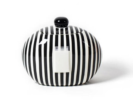 Happy Everything Black Stripe Big Cookie Jar