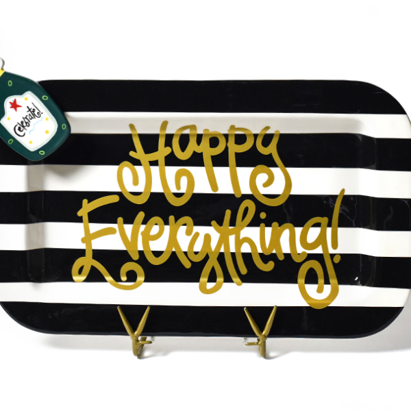 Happy Everything Black Stripe Mini Entertaining Platter