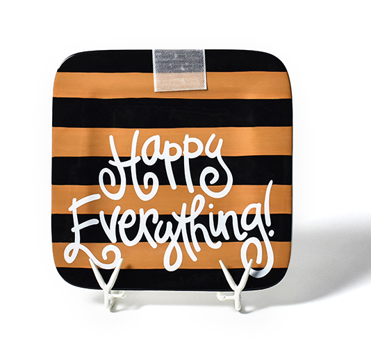 Happy Everything Camel And Black Stripe Mini Platter