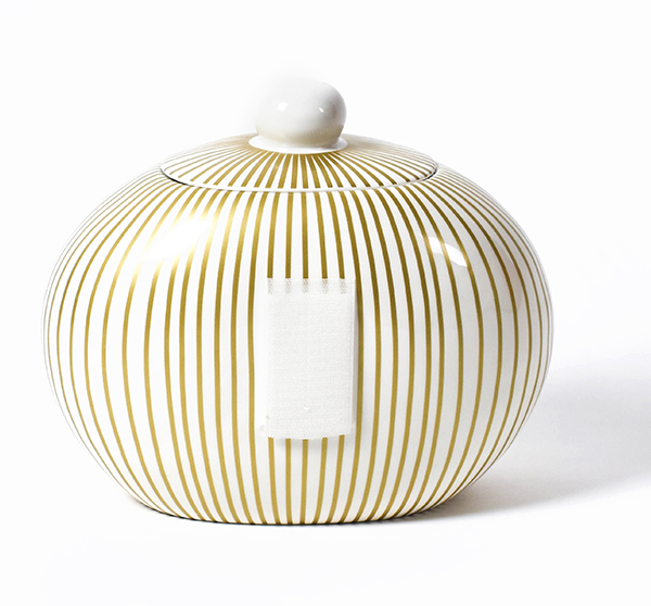 Happy Everything Gold Stripe Big Cookie Jar