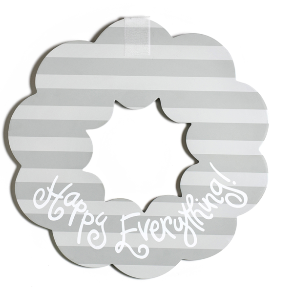 Happy Everything Stone Stripe Wooden Wreath