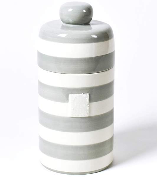Happy Everything Stone Stripe Mini Canister